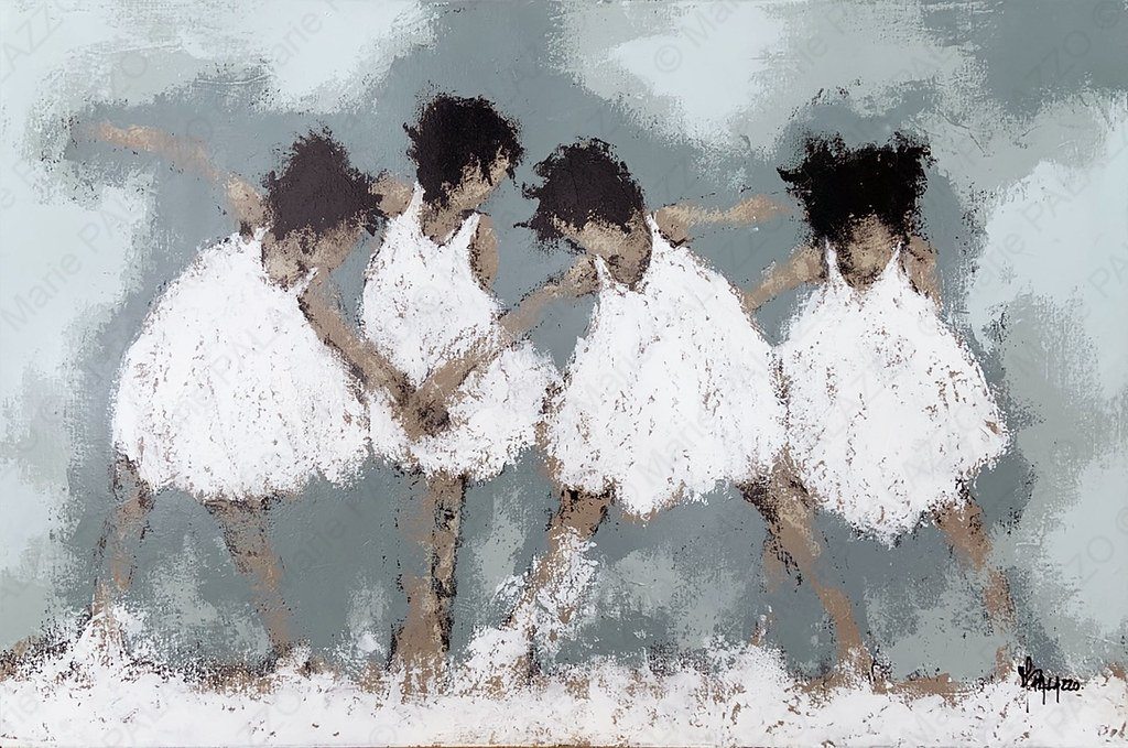 FOUR GIRLS - WHITE Acrylic on canvas 120x80cm